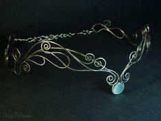Elven tiara, Chalcedony tiara, Silver tiara, Elf diadem, Wire wrapped tiara