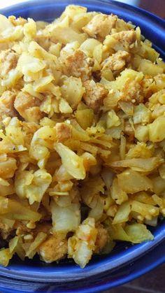 HcG diet recipe phase 2 P2: Orange Curry Chicken & Rice alternative - cabbage