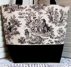 Black & White Toile Tote Bag by Gray Mountain Goods, via Flickr