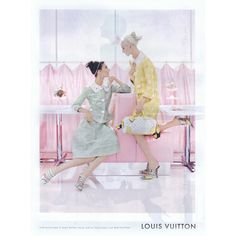 Louis Vuitton Ad Campaign Spring/Summer 2012 Shot #3 ❤ liked on Polyvore featuring backgrounds, people, models, pink, pictures and ad campaign