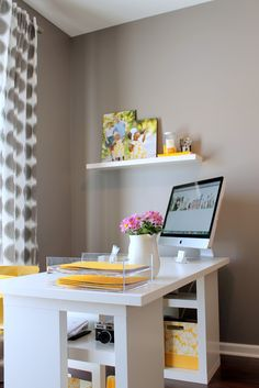 Beautiful Yet Modern IKEA Home Office Ideas : Modern Beige IKEA Home Office Design with Clean White iMac Computer Desk and White Shelving also Yellow Chair