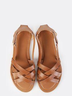 Woven Peep Toe Sandals WHISKY | MakeMeChic.COM Mobile Site