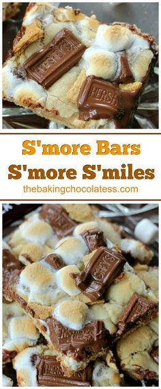 S'more Bars = S'more S'miles S'more Bars = S'more S'miles - Delicious combination of rich milk chocolate bar chunks, bits of graham cracker and melty, toasted gooey marshmallows baked in cookie dough with a graham cracker crust as well. Summer Dessert Recipes, Easy Desserts, Delicious Desserts, Yummy Food, Delicious Chocolate, Chocolate Bars, Chocolate Recipes, Picnic Desserts, Easy Desert Recipes