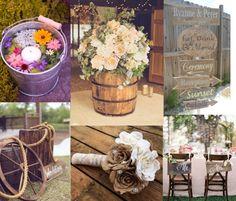 Composizione di decorazioni per matrimonio country chic
