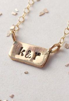 itty bitty bar custom initial monogram date necklace