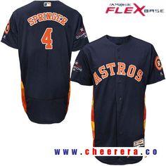 Men's Houston Astros #4 George Springer Navy Blue Alternate Majestic Flex Base Stitched 2017 World Series