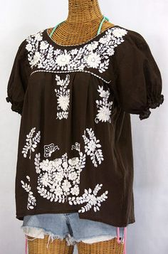 Another beautiful Mexican blouse, simply white embroidery is so classic!