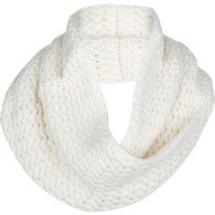 UGG Sequoia Twisted Solid Knit Snood Scarf (70 BAM) ❤ liked on Polyvore featuring accessories, scarves, white fillers, knit scarves, ugg scarves, ugg, white shawl and knit snood