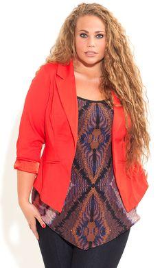 City Chic - SWEET ONE BUTTON JACKET - Women's plus size fashion