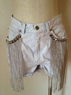 WHITE BLEACHED OUT DENIM SHORTS WITH CHAIN FRINGE DETAIL ON POCKETS - CUT OFF - HIGH WAISTED