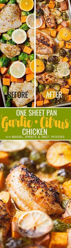 One Sheet Pan Garlic and Citrus Chicken with Brussel Sprouts and Sweet Potatoes - Tender, falling apart chicken with roasted veggies all on ONE sheet pan! #roastedbrusselsprouts #roastedsweetpotatoes #roastedchicken | Littlespicejar.com