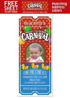 6 CARNIVAL CIRCUS Birthday Party TICKET INVITATIONS