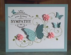 This lovely card measures 5 1/2 X 4 1/4 and was made using the Stampin Up Thanks for Caring stamp set, leaf embossed card stock, inks, pink ribbon