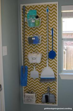 Laundry room makeover.  This is a DIY peg board cleaning supply rack.