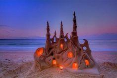 illuminated sand castle