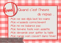 Quelques règles de base qu'il est … The moment of the meals must remain serene! Some basic rules that it is good to have under the eyes! Education Positive, Kids Education, French Flashcards, Parenting Issues, Parenting Styles, Parenting Hacks, I Can Do It, Teaching Activities, Learn French