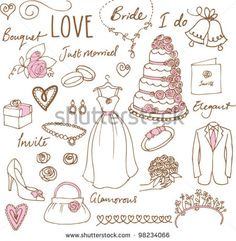 stock-vector-wedding-doodles-sketchy-vector-illustration-98234066.jpg (450×461)