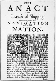 September 13, 1660 - The Navigation act is passed by British Parliament to control colonial commerce in the New World.
