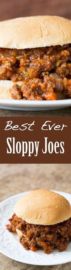 Best Ever Sloppy Joe ~ An American kid-friendly classic! Sloppy Joe recipe with browned ground beef, onions, garlic, carrots, celery, cooked in sweet sour tomato sauce, served over hamburger buns.