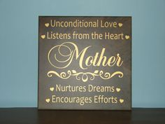 Mother, Father, unconditional love, listens from the heart, nurtures dreams, encourages efforts, VINYL ONLY quote saying wall decal