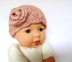 Baby Mütze rosé Babymütze Babykappe Häkelmütze von maleny auf Etsy