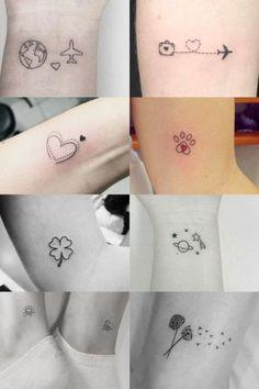 Female arm tattoos: Over 50 incredible inspirations for . - tatoo feminina - Female arm tattoos: over 50 incredible inspirations for - Tiny Tattoos For Girls, Cute Tiny Tattoos, Dainty Tattoos, Bff Tattoos, Subtle Tattoos, Friend Tattoos, Mini Tattoos, Unique Tattoos, Beautiful Tattoos