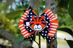 Tiger bow orange and blue