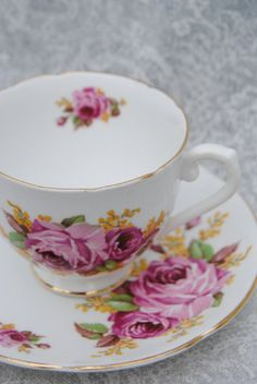 STANLEY Bone China Tea Cup and Saucer pinkish by HoneyandBumble, $16.00