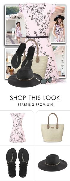 """""""Pink Floral Print Shift Dress"""" by tasha1973 ❤ liked on Polyvore featuring Miss Selfridge, Havaianas and Chanel"""