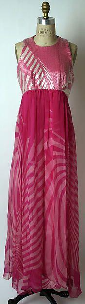 Hanae Mori Evening dress - Japanese 1970-75. Silk, glass.  The Met