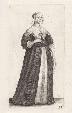 Wenceslaus Hollar | Engelse vrouw met zakdoek in de hand, Wenceslaus Hollar, 1638 - 1640 | Engelse vrouw, met op het afhangende, krullende haar en scheiding in het midden een mutsje met op het voorhoofd teruggeslagen rand die aan weerszijden van het gezicht verbreedt en naar buiten uitstaat. Gekleed in een japon bestaande uit een kort, open lijf met v-hals, hoge taille, schoot met verschillende panden, wijde lange mouwen en borststuk, op een lange, ruime, open rok enigszins slepend op de…