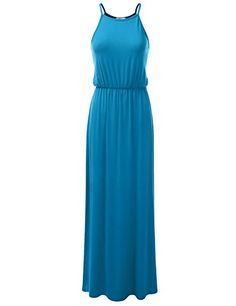 Doublju Stretchy Side Slit Halter Neck Maxi Dress for Women with Plus Size (Made in USA) ArmyGreen Small Modest Dresses, Casual Dresses For Women, Blue Dresses, Dresses For Work, Maxi Dresses, Dress Casual, Halter Neck Maxi Dress, Tank Dress, Sleeveless Tunic