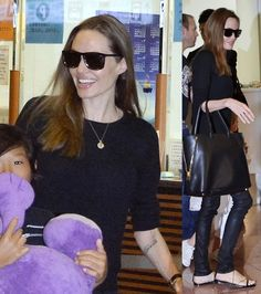 Angelina Jolie in Saint Laurent Chain and Leather Flat Sandals