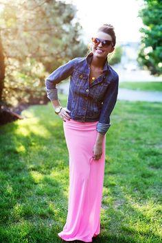 maxi skirt, jean jacket, sunglasses, top knot. love.