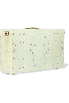 Dolce & Gabbana - Dolce Box Crystal-embellished Textured Leather-trimmed Acrylic Clutch - Light green - one size