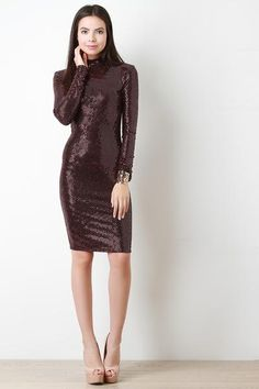 Sequined Mock Neck Bodycon Dress