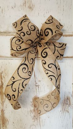 Burlap bow, Wedding burlap bow, Burlap bow for any occasion, Beautiful burlap bow with a beautiful black scroll by FarmHouseFloraLs on Etsy