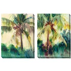 Add a bold splash of color to your home or office with this dramatic oversized canvas print set of Allyson Krowitz's 'Coconut Palm.' This two-piece set features a natural, tropical-themed design that adds an instant sense of energy to any room.