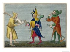 We put this medieval print and its companion in the Private Double Double at the Seton Hotel. Medieval Jester, Medieval Party, Medieval Life, Jester Costume, Jester Hat, Court Jester, Renaissance, Elizabethan Era, Medieval Paintings
