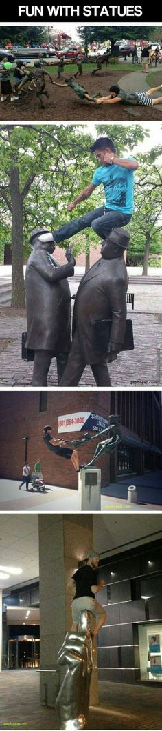 Funny Pictures Of People Having Fun With Statues