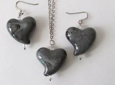 Gray Porcelain Heart Necklace and Earring Set by artsix on Etsy