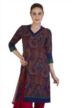 Meena Bindra - A-Line Kurta with a Printed Dupatta. Colorful paisleys! Meena Bindra's rich tunic design and deep hues make for a fantastic holiday gift that you'll be itching to share.