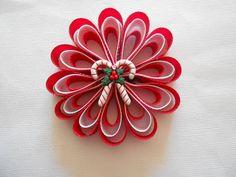 Candy cane ribbon art flower Christmas hair bow. $5.00, via Etsy.