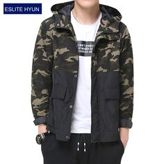 2017 New Spring Autumn Mens Casual Camouflage Jacket hooded Military Style patchwork Men Camo Jackets and Coats Man Tactical
