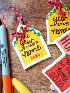 A DIY 2020 Christmas ornament made from simple, homemade air-dry clay and Sharpies is a fun and humorous take on this crazy year 2020 has been. #christmas