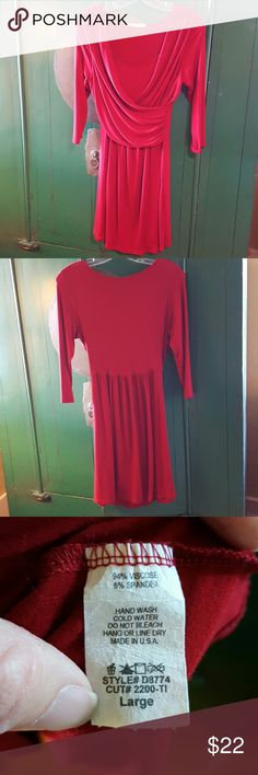 "Pretty Red Cross body Dress I love this great, comfortable dress! It's actually a deeper red than the photos show.  In great condition...worn only a few times.  Says large but fits more like a medium.  My daughter's dress and she is 5'2"" and a size 6 and this dress fit her perfectly.  Looks great with boots! color me red Dresses Midi"