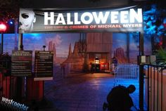 "HHN 2009, Universal Studios Hollywood    The entrance to ""Halloween: The Life and Crimes of Michael Myers,"" at HHN Hollywood, 2009.    Photo by Albert Lam and Dan Angona, courtesy of Westcoaster.net."