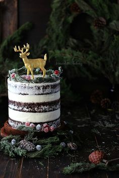 Naked Christmas cake Ingredientes bizcocho sin huevos Christmas and New Year Cake and Cuisine Recipes Woodland Christmas, Christmas Love, Christmas Goodies, Christmas Desserts, Christmas Treats, Christmas Baking, Winter Christmas, Christmas Trifle, Beautiful Cakes