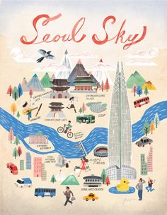 Seoul City (a poster of Seoul for promoting Lotte World Tower) Seoul Korea Travel, Seoul Map, Seoul Skyline, Korea Map, Travel Doodles, City Sketch, Travel Illustration, Korean Illustration, Little Doodles