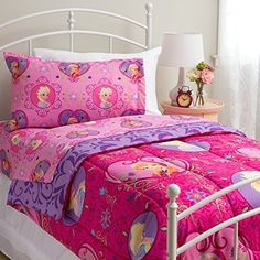 Kids' Comforter Sets - Disney Frozen Twin Size Complete Bedding Set Wth Comforter and Sheets The Perfect New Bedding for Your 1 Frozen Fan Is Here Give Her the Bed of Her Dreams with This 4 Piece Twin Size Bedding Set Featuring Disney Frozen Princesses Elsa and Anna Shell Spend Her Nights Dreaming About Her Favorite Characters From Her Favorite Disney Movie Choose Pink or Purple and Make Her Smile Pink -- Check out the image by visiting the link.